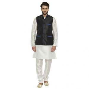 Irin Ethnic Blended Silk Black Koti (waistcoat) And White Kurta Churidar For Men