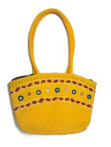 Irin Handcrafted Yellow Oval Cotton Handbag
