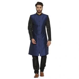 Irin Designer Ethnic Blended Silk Blue And Black Indo-western Sherwani For Men