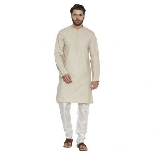 Irin Ethnic Linen Cotton Cream Self Design Kurta And White Churidar For Men