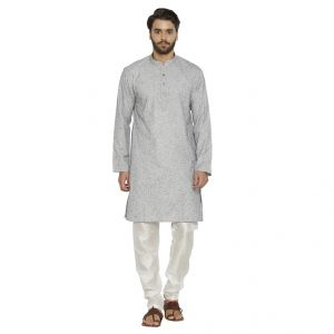 Irin Ethnic Linen Cotton Grey Self Design Kurta And White Churidar For Men