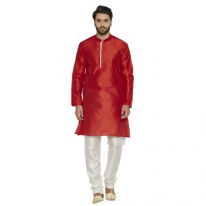 Irin Designer Ethnic Blended Silk Red Solid Kurta And White Churidar For Men