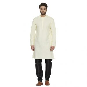 Irin Designer Ethnic Poly Cotton Cream Solid Kurta And Black Churidar For Men