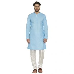 Irin Designer Ethnic Poly Cotton Sky Blue Solid Kurta And White Churidar For Men