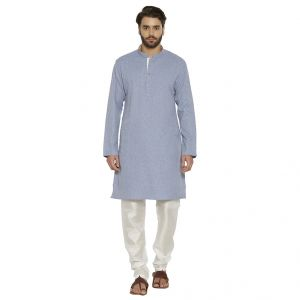 Irin Ethnic Poly Cotton Carbon Blue Self Design Kurta And White Churidar For Men