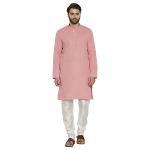 Irin Ethnic Poly Cotton Pink Self Design Kurta And White Churidar For Men