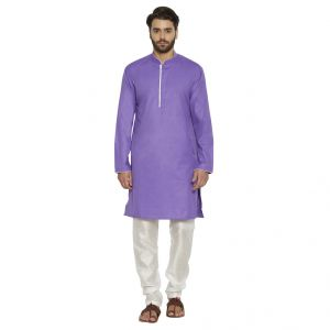 Irin Designer Ethnic Poly Cotton Purple Solid Kurta And White Churidar For Men