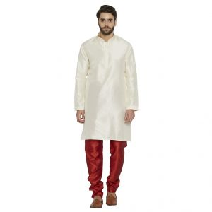 Irin Ethnic Blended Silk Cream Embroidery Kurta And Maroon Churidar For Men