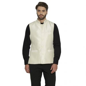Irin Designer Ethnic Blended Silk Cream Solid Koti (waistcoat) For Men