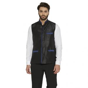 Irin Designer Ethnic Blended Silk Black Solid Koti (waistcoat) For Men