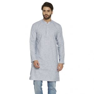 Irin Ethnic Linen Cotton Blue Self Design Straight Kurta For Men