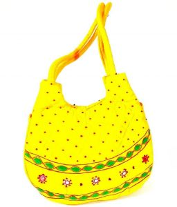 Irin Handcrafted Yellow Cotton Shoulder Bag