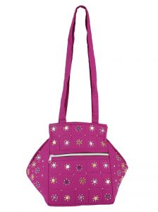 Irin Handcrafted Purple Octa Design Cotton Shoulder Bag
