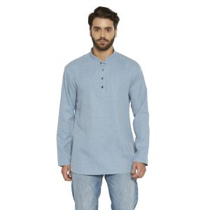 Irin Ethnic Poly Cotton Light Blue Self Design Straight Short Kurta For Men