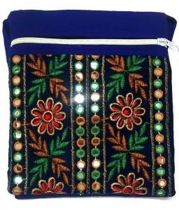 Irin Handcrafted Embroidered Deep Blue Cotton Sling Bag