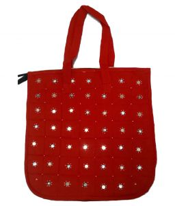 Shopping Bags - irin Handcrafted Red Cotton Shopping Bag