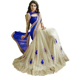 Fab Dadu Designer Blue And White Georgette And Net Saree (fv3114)