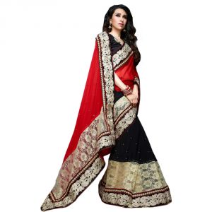 Fad Dadu Designer Red And Black Georgette And Net Saree (fv3013)