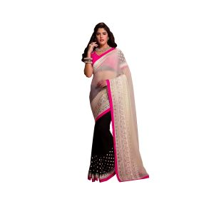 Fad Dadu Designer White And Black Net And Georgette Saree (fv3060)