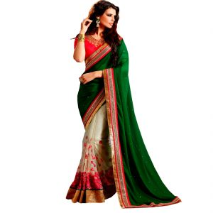 Fab Dadu Designer Green And Beige Georgette And Net Saree (fv3110)