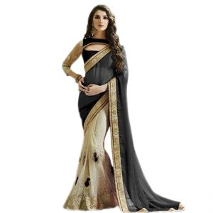 Fab Dadu Designer Black And White Georgette And Net Saree (fv3153)
