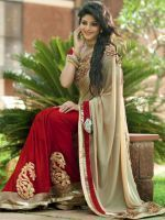 Chiffon Sarees - Sellective Bollywood Replica Nakashi Cream And Maroon Coloured Chiffon Saree - (code -pt-1241)