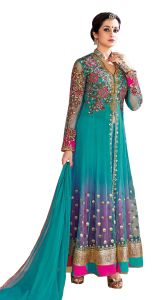 Anarkali Suits (Unstitched) - Sargam Fashion Embroidered Light Blue Net Fashion Shervani Style Party Wear Semi-Stitched Suit - SRSF348