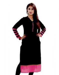 Surat Tex Black & Pink Cotton Printed Unstitched Kurti-h468kic2001cn