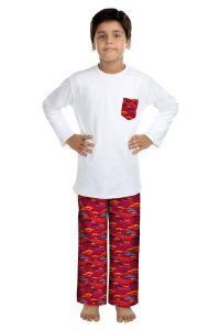 ORANGES AND LEMONS Mustache Print Cotton Fabric Tshirt & Pyjama Set For Boys