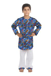 Oranges And Lemons Flag Print Cotton Fabric Kurta & Pyjama Set For Boys-kpboysflg