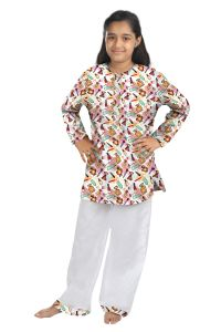 Oranges And Lemons Make Up Print Cotton Fabric Kurta & Pyjama Set For Girls-kpgirlsmku