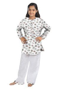 Top & bottom sets - ORANGES AND LEMONS Teapot print Cotton fabric Kurta & Pyjama set for Girls-KPGIRLSTPT