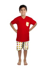 Oranges And Lemons Emoji Print Cotton Fabric T-shirt & Short Set For Boys-shboysemj