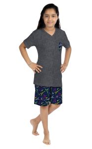 ORANGES AND LEMONS Eiffel Tower Print Cotton Fabric T-shirt & Short Set For Girls-SHGIRLSEFTW