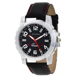 Synthetic strap - Jack rachel men's black synthetic leather analog watch JR_50