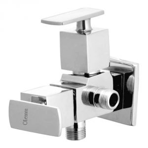 Oleanna Kubix Brass 2 In1 Angle Valve Silver Taps & Faucets