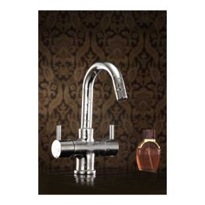 Oleanna Flora Brass Center Hole Basin Mixer Silver Water Mixer