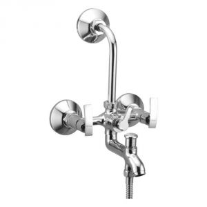 Oleanna Desire Brass Wall Mixer 3in1 With L Bend Silver Water Mixer