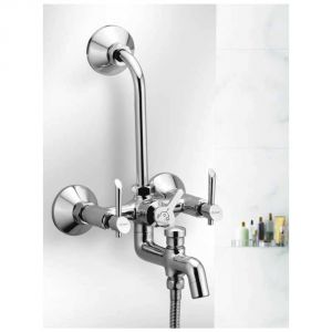 Oleanna Fancy Brass Wall Mixer 3in1 With L Bend Silver Water Mixer