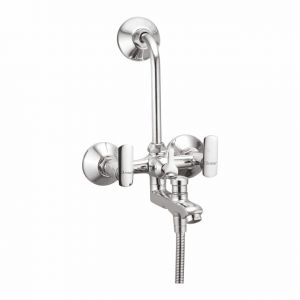 Oleanna Speed Brass Wall Mixer 3in1 With L Bend Silver Water Mixer