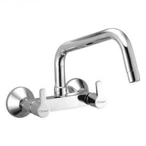 Oleanna Orange Brass Sink Mixer With Long Spout Silver Water Mixer