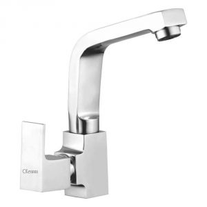 Oleanna Square Brass Swan Neck Silver Water Mixer