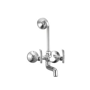 Oleanna Citizen Brass Wall Mixer Telephonic With L-bend Silver Water Mixer