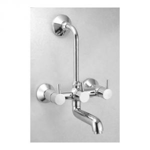 Oleanna Flora Brass Wall Mixer Telephonic With L-bend Silver Water Mixer