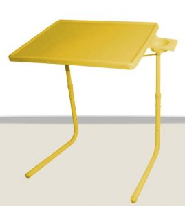 Table Mate II 2- Folding Portable Adjustable Table With Cup Holder-yellow