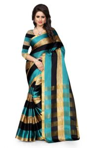 Shubhamcreation Turquoise And Black Color Poly Cotton Saree With Blouse Piece...aura Rama Black Leriya