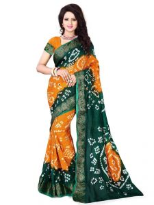 Fabliva Orange & Dark Green Cotton Silk Bandhani Saree Fds163-3002f