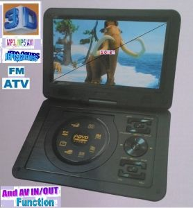 "Port Electronics - 9.8""3D PORTABLE RECHARGEABLE DVD/EVD PLAYER WITH FM/TV/SD/USB/GAMES PLAYER,AV IN/OUT FUNCTION"