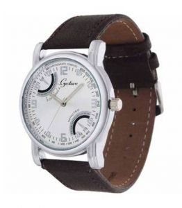 Gesture White Chrono Type Brown Strap Watch For Men