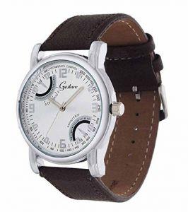Men's Watches   Leather Belt   Analog - Brown Strap Golden Dial Skeleton Watch For Men